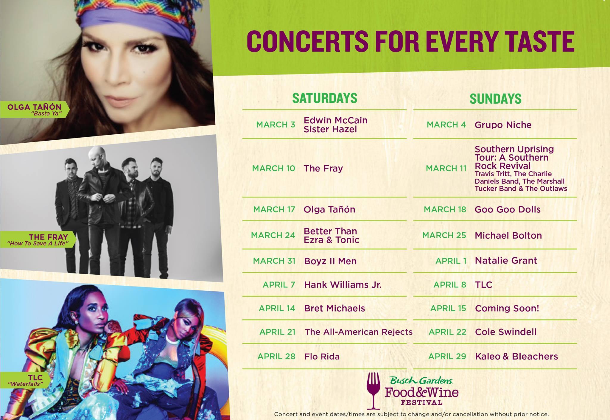 Busch Gardens 2018 Food & Wine Festival Concert Lineup