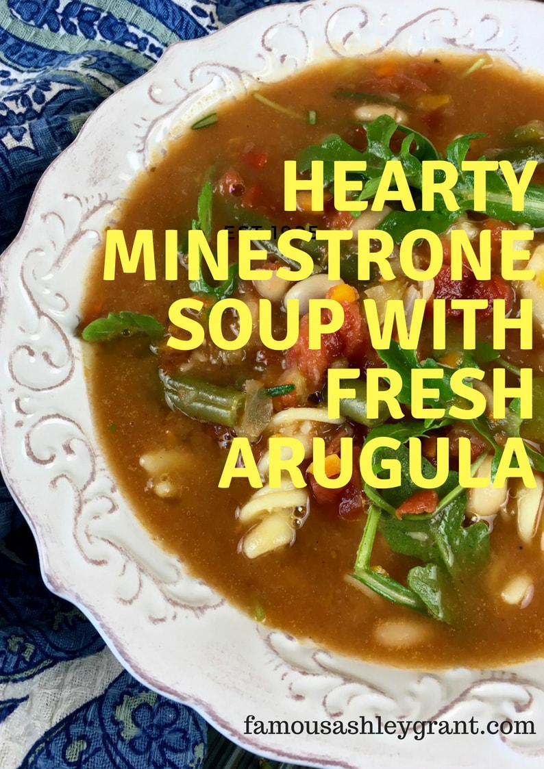 Hearty Minestrone Soup with Fresh Arugula Vertical