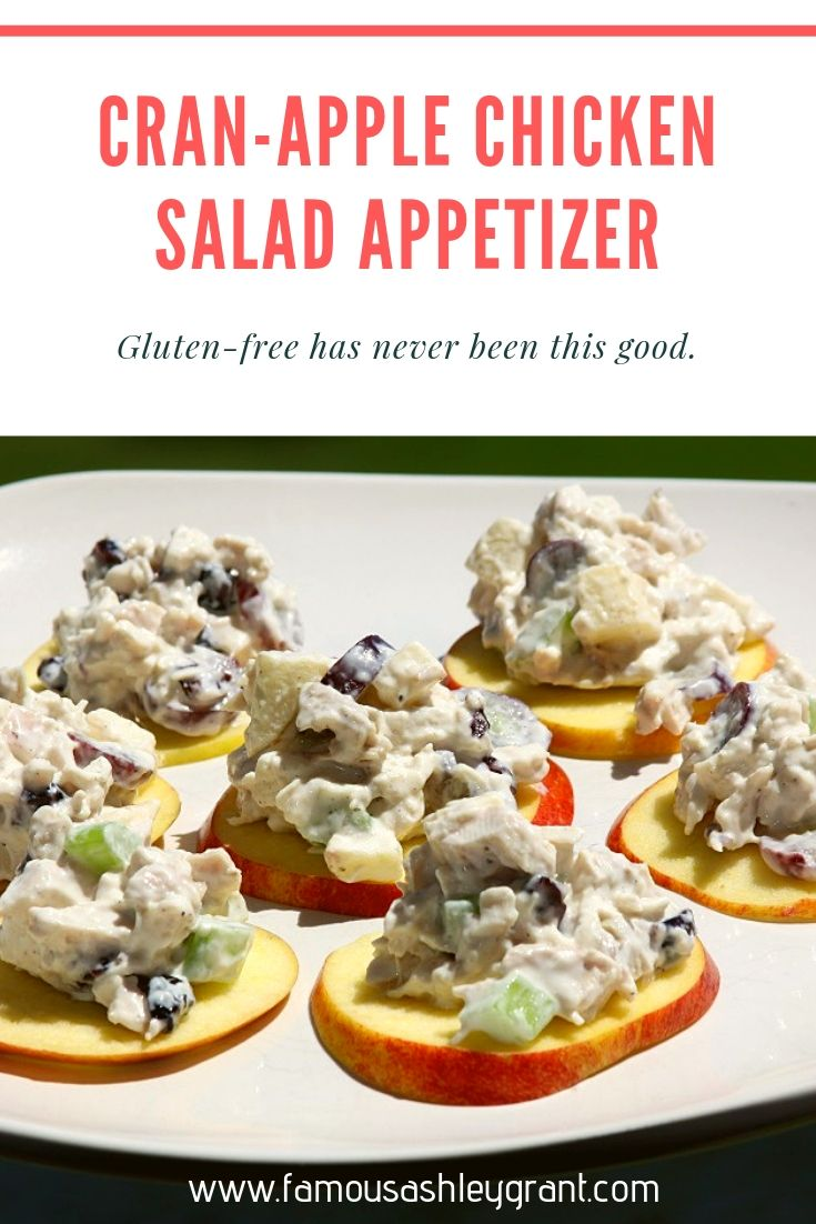 Cran-Apple Chicken Salad on Apple Slices Appetizer- Pinterest Image-